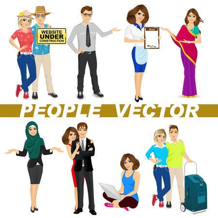 médula: conjunto de diversos personajes personas aisladas sobre fondo blanco. Diseño vectorial