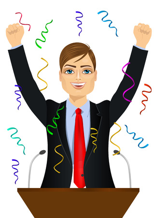 politician: portrait of happy young politician man celebrating with fists up at podium standing under falling confetti Illustration