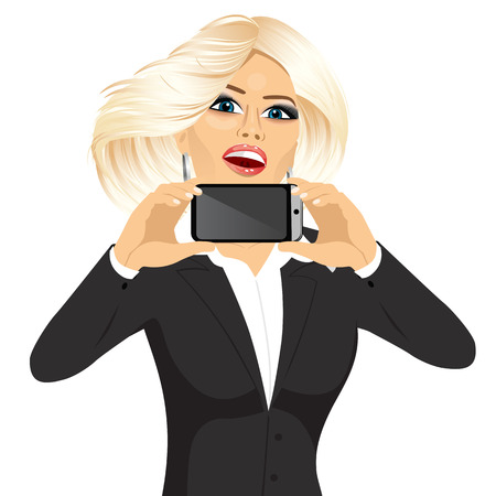 woman business suit: portrait of beautiful blonde businesswoman displaying her smartphone on horizontal position isolated on white background Illustration