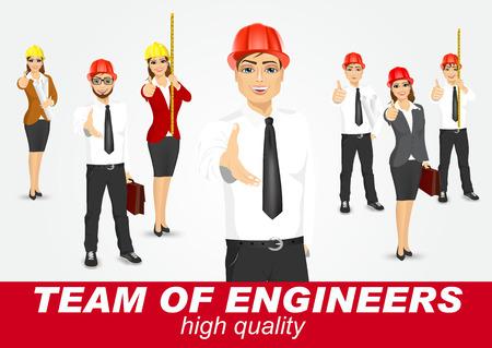 ingeniero: conjunto de arquitectos o ingenieros felices aislados sobre fondo blanco Vectores
