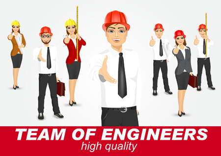 set of happy architects or engineers isolated on white background