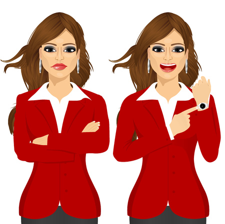 arriving: Two angry businesswomen standing with arms folded and pointing finger to her wristwatch showing the time and yelling. Arriving late concept Illustration