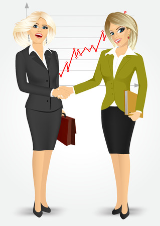 negotiating: two blonde businesswomen with briefcase and paper folder shaking hands happy standing negotiating on background of line chart