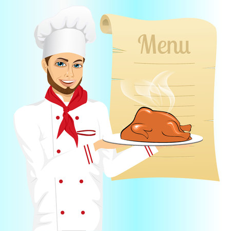 roasted turkey: portrait of cheerful hipster male chef holding a tray with christmas roasted turkey against blank retro scroll of menu