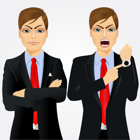 arriving: Two angry businessmen standing with arms folded and pointing finger to his wristwatch showing the time and yelling. Arriving late concept