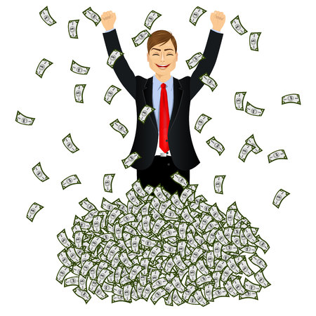 happy rich successful businessman raising from huge money bills pile