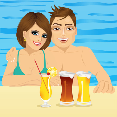 tomando jugo: Happy smiling couple drinking juice and beer in pool at hotel resort