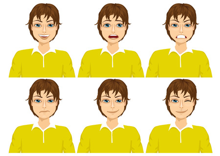 face expressions: handsome young brunet teenager with glasses on six different face expressions set