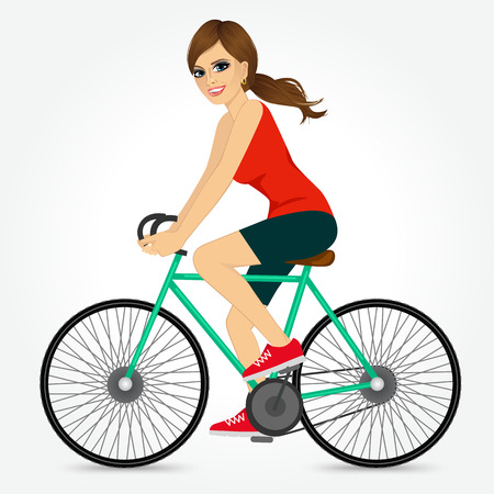 Friendly Beautiful Young Girl Riding Bicycle Happy Side Profile View Isolated On White Background Illustration