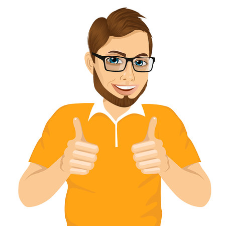 portrait of positive young man with glasses showing thumbs up sign with both hands isolated on white background