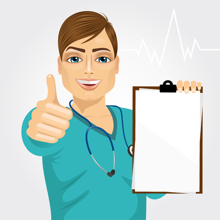 medical clipboard: handsome male nurse or doctor holding a blank medical clipboard and giving thumbs up on white background
