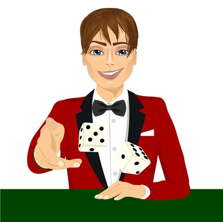 hombre guapo: retrato de hombre guapo lanzar el juego de dados jugar a los dados en el vector verde