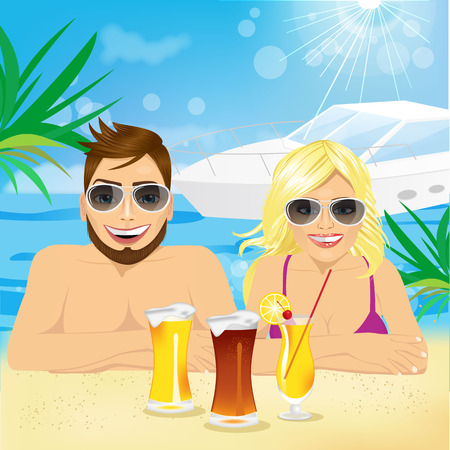 beach holiday: portrait of young happy couple enjoying beach holiday with coctails and beer