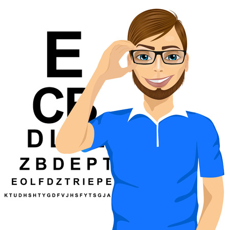 ophthalmologist: portrait of young man with glasses reading sight test characters a ophthalmologist