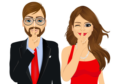 portrait of handsome businessman and attractive woman winking, making silence or secret hand gesture with finger on their lips