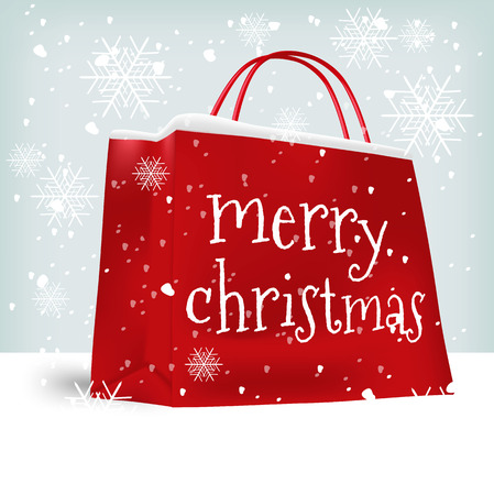 Merry Christmas shopping bag. Sale, christmas, x-mas and holidays concept