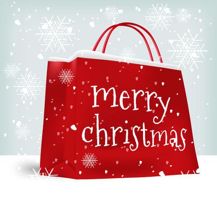 Merry Christmas shopping bag. Verkoop, kerstmis, x-mas en vakantie concept