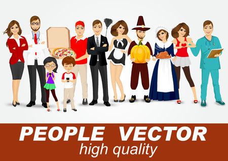 folded arms: set of diverse people characters isolated on white background. Vector design Illustration
