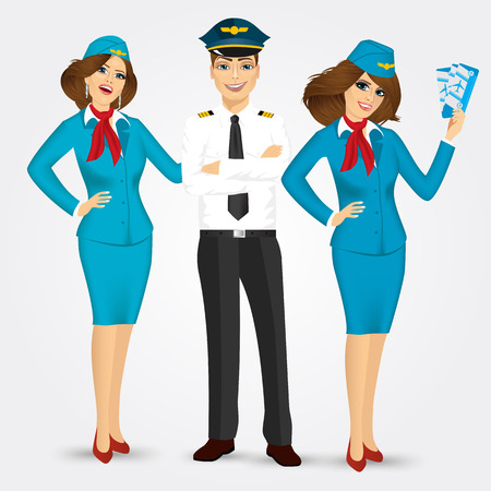 folded hands: portrait of a pilot and two stewardesses in uniform isolated on white background Illustration