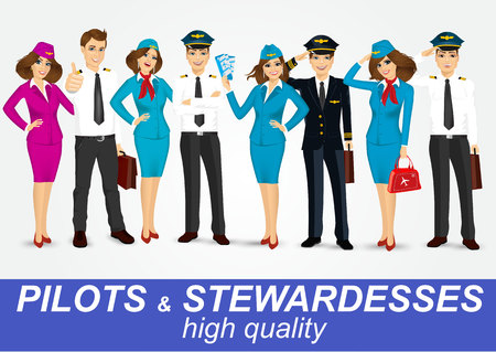 pilot: set of pilots and two stewardesses in uniform isolated on white background