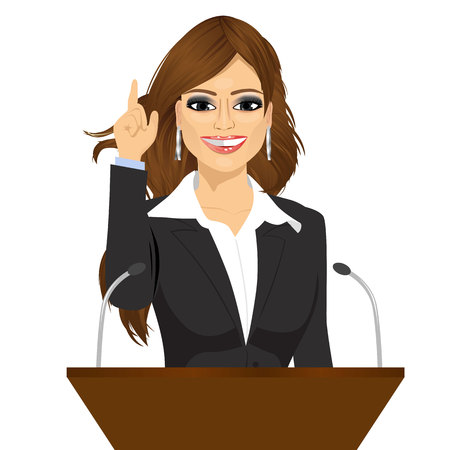 woman speaking: female orator standing behind a podium with microphones. Speaker makes a report to the public. Presentation and performance before an audience. Oratory, lecturer, business seminar
