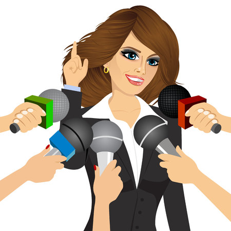 answering: female politician or businesswoman answering press questions in front of journalists holding microphones