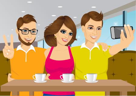 ilustración de los jóvenes que toman un selfie en una cafetería