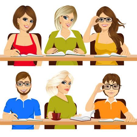 estudiando: grupo de estudiantes que estudian juntos trabajan escribir notas Vectores