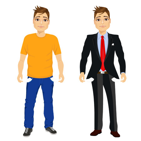 penniless: portrait of handsome young man in two different outfit styles showing empty pockets. Concept
