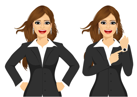 arriving: Two angry businesswomen holding hands on hip and pointing finger to her wristwatch showing the time and yelling. Arriving late concept
