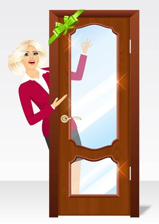 woman behind: vector illustration of beautiful blonde woman behind the door with green bow showing ok sign