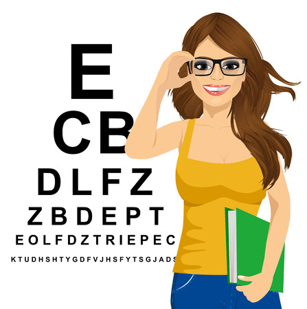 ophthalmologist: portrait of young woman with glasses reading sight test characters a ophthalmologist Illustration