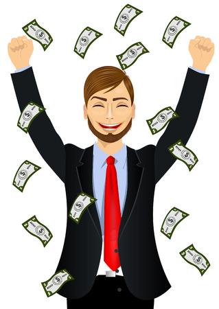 seeing: portrait of hipster businessman happy seeing raining money bills
