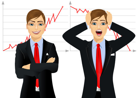 businessman suit: one businessman standing with arms folded and other screaming mouth open against line chart, concept face emotion