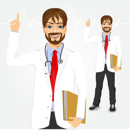 pointing up: happy smiling young male hipster doctor with paper folder pointing up, isolated over white background Illustration