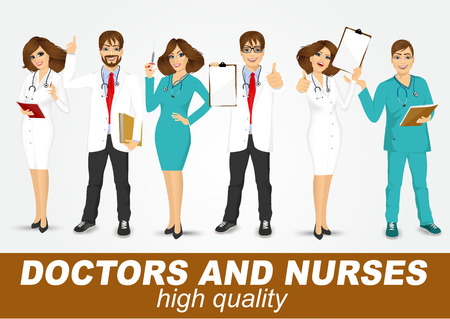 nurses: group of doctors and nurses set isolated over white background