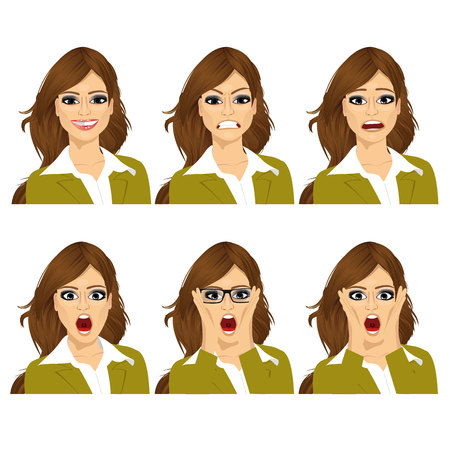 face expressions: beautiful young brunette woman on six different face expressions set Vectores