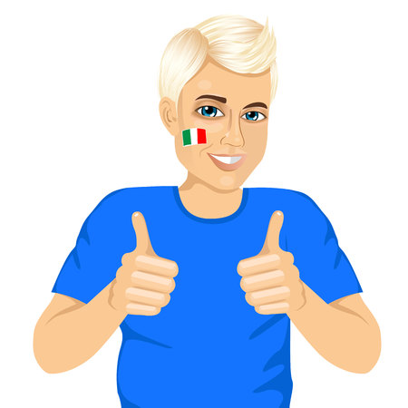 football fan: portrait of positive young Italian football fan showing thumbs up sign with both hands isolated on white background Illustration