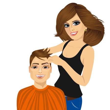 long hair brunette: portrait of professional barber working cutting long hair to beautiful brunette woman isolated on white background