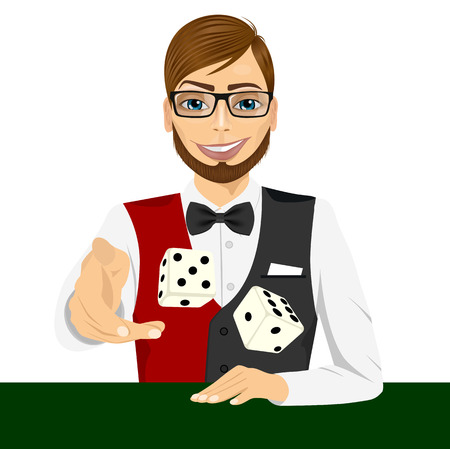craps: portrait of handsome man with glasses throwing the dice gambling playing craps on green table Illustration