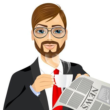 hombre con barba: Retrato de hombre de negocios inconformista joven con gafas beber café y leyendo el periódico