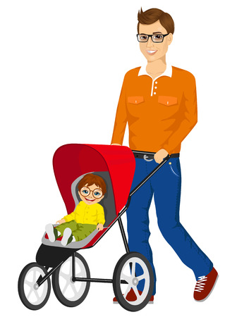 single father: handsome single father with glasses pushing stroller with cute little boy