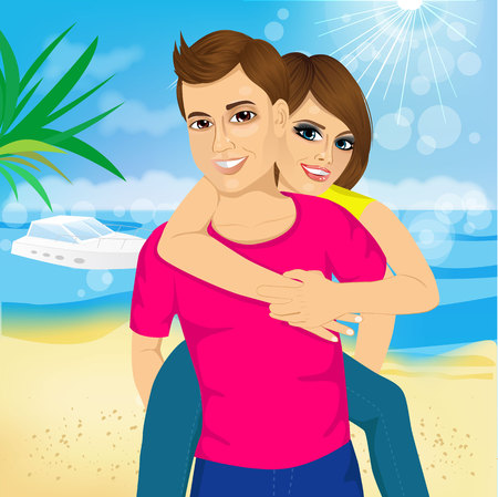 happy couple beach: Happy couple in love on beach summer vacations. Joyful girl piggybacking on young caucasian boyfriend playing and having fun in sunny tropical destination for travel holiday.