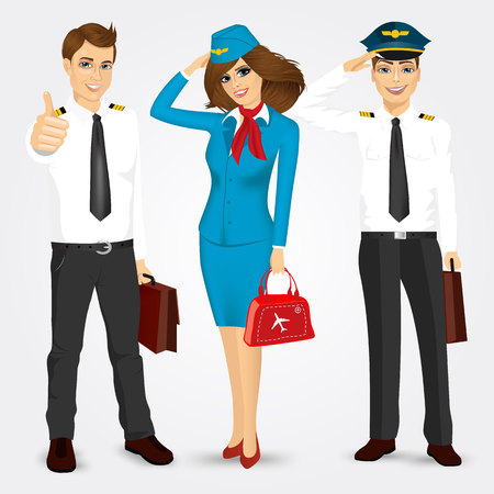 portrait of a pilot and two stewardesses with briefcases in uniform saluting isolated on white background Illustration
