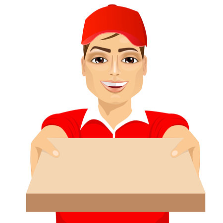 jeunes joyeux: portrait of happy young pizza delivery guy holding pizza cardboard delivering order isolated on white background