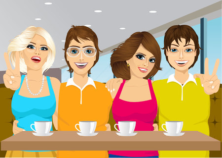 drink coffee: illustration of young people taking a selfie at a coffee shop Illustration