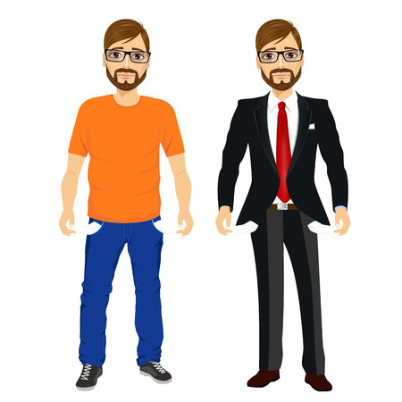 empty of people: portrait of handsome young man with glasses in two different outfit styles showing empty pockets. Concept