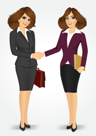 negotiating: two businesswomen with briefcase and paper folder shaking hands happy standing negotiating Illustration