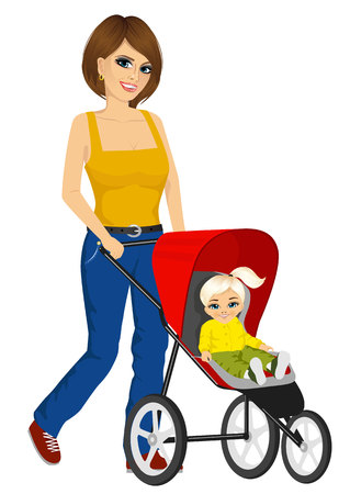 mather: beautiful single mather pushing stroller with cute little girl Illustration