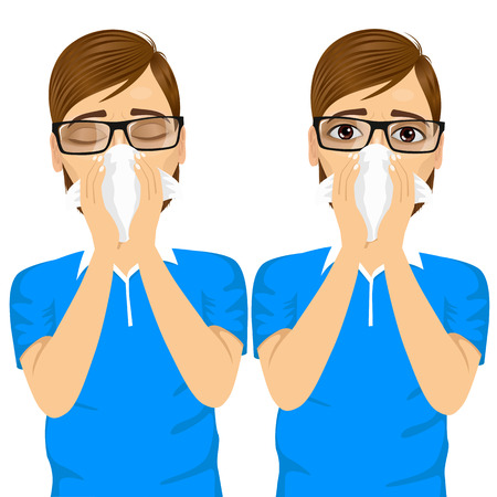 blowing nose: portrait of young sick man ill in two different outfit styles suffering allergy using white tissue on noseisolated on white background